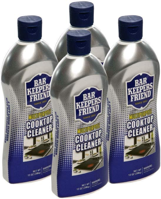 Bar Keepers Friend Multipurpose Cooktop Cleaner (13 oz) - Liquid Stovetop Cleanser - Safe for Use on Glass Ceramic Cooking Surfaces, Copper, Brass, Chrome, and Stainless Steel and Porcelain Sinks(4)