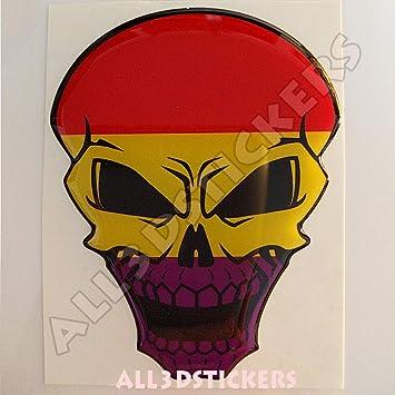 Pegatina La Republica Calavera Bandera Republicana Resina Relieve 3D Adhesivo Vinilo Skull: Amazon.es: Coche y moto