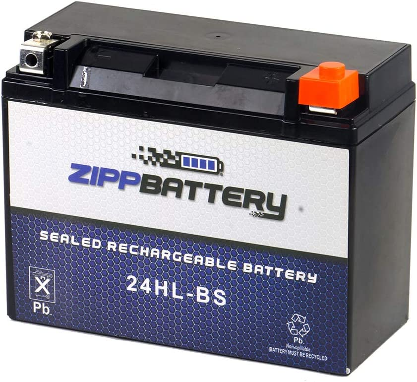 Chrome Battery 24HL-BS Battery - Factory Sealed, AGM, Motorcycle Battery, Rechargeable