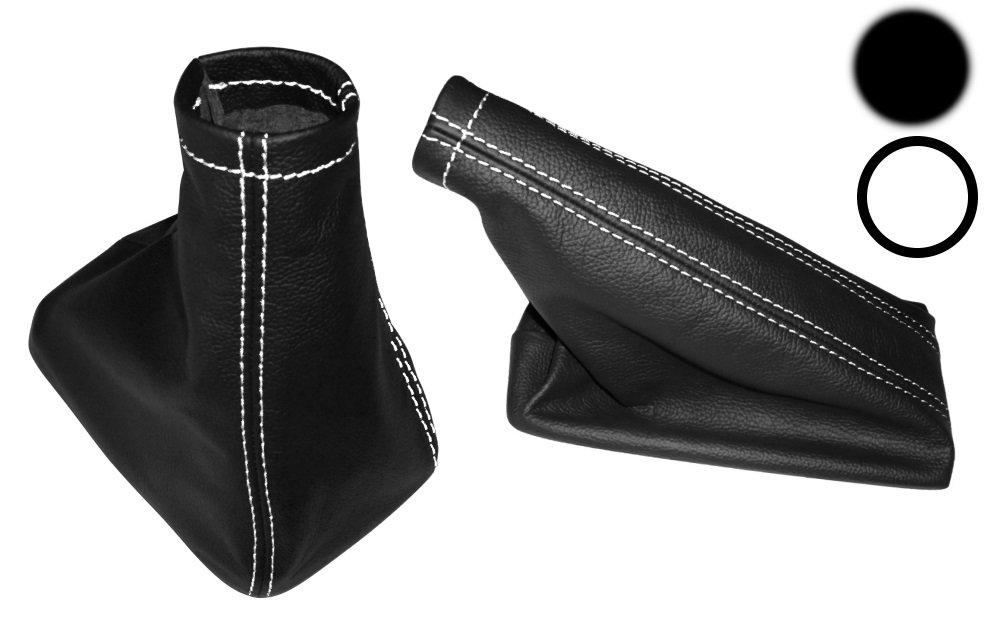 Funda para palanca de cambios y freno de mano 100/% Piel Genuina negro Costuras de color blanco AERZETIX
