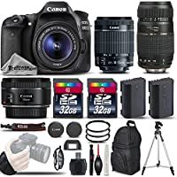 Canon EOS 80D Wi-Fi Full HD 1080P Digital SLR Camera + Canon 18-55mm IS STM Lens + Canon 50mm 1.8 II Lens + Tamron 70-300mm Lens . All Original Accessories Included - International Version