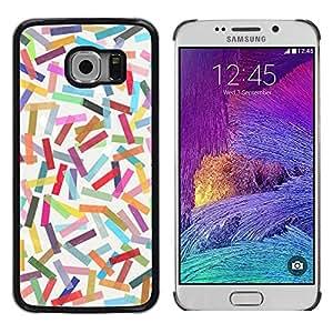 FECELL CITY // Duro Aluminio Pegatina PC Caso decorativo Funda Carcasa de Protección para Samsung Galaxy S6 EDGE SM-G925 // Abstract Colorful Pastel Lines Pattern