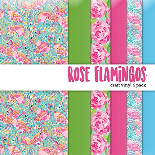 (Rose Flamingos Printed Craft Vinyl 6 Sheets 12