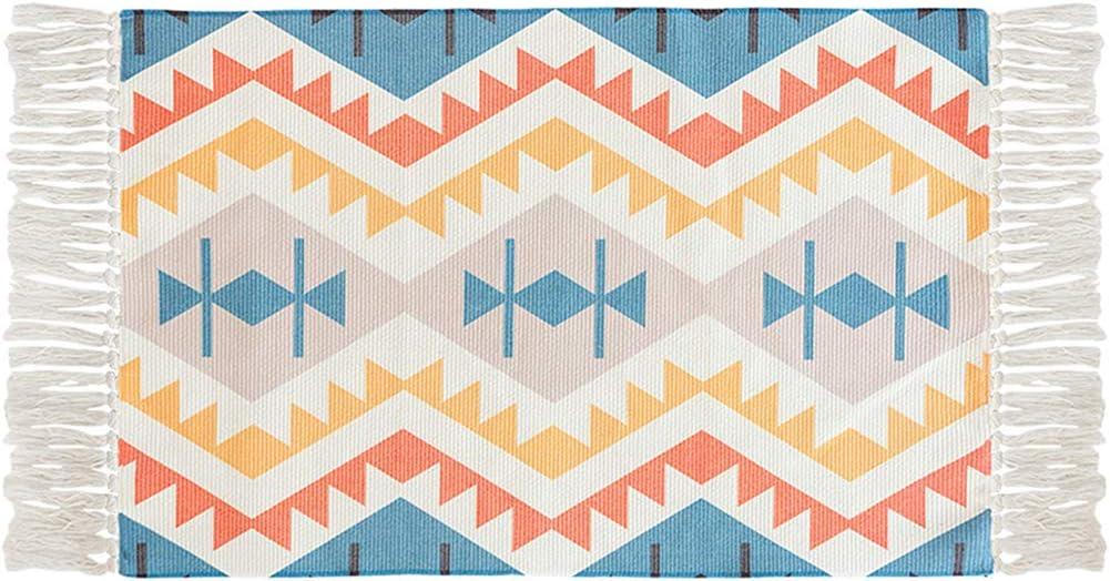 "Ukeler Laundry Room Rug Handwoven Bohemian Cotton Braided Kilim Rug with Tassels Decorative Accent Floor Mat for Bathroom Bedroom, 23.6"" x 51.2"""