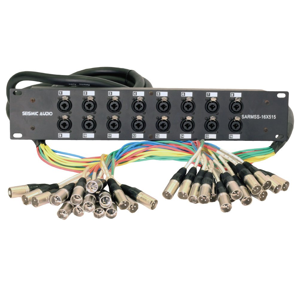 Seismic Audio SARMSS-16x515 Rack Mount 16 Channel XLR TRS Combo Splitter Snake Cable - 5' & 15' XLR trunks