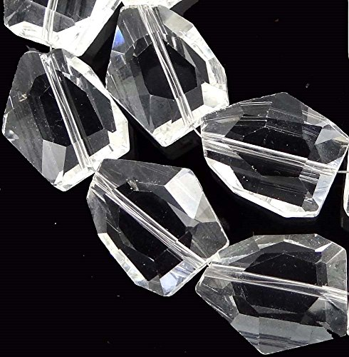 20x15mm Handmade Faceted Clear Crystal Nugget Beads 14