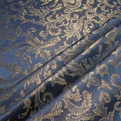 Stoff am Stück Fabric Polyester Jacquard Ornament Blue Gold Lurex Gold Brocade Baroque Rococo 280 cm: Amazon.de: Küche & Haushalt