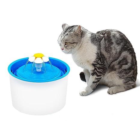 Fypo 1.6L Bebedero Redondo Automático para Mascotas Gatos Perros Flor Fuente de Agua Circular Silencio Dispensador de 3 Modos con Filtro de Carbón ...