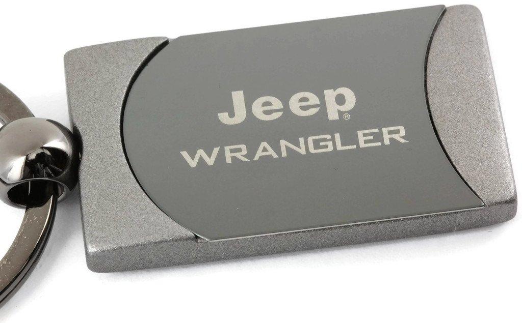 Au-Tomotive Gold Jeep Wrangler Two Tone Gun-Metal Rectangular Key Chain Key Fob INC