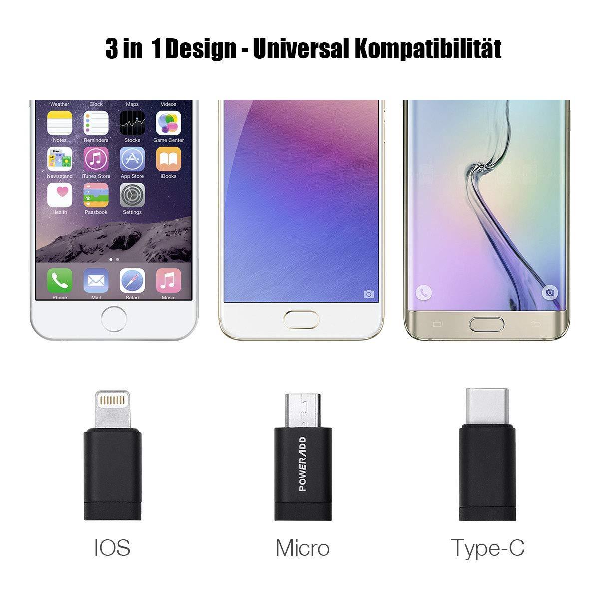 Poweradd [3 in 1] Lightning + Micro USB + USB C ( Type C ) Ladekabel Datenkabel , geeignet für iPhone 7 6 5 und alle Android Handys