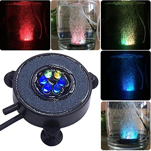 COODIA Aquarium Fish Tank Air Curtain Bubble Generator Bubble Air Stone Multi-Color Underwater Changing LED Light (Diameter 2