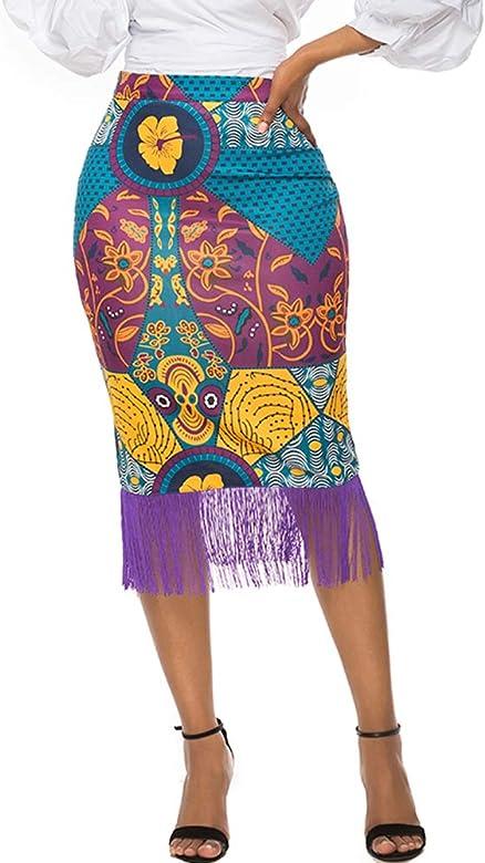 nuoshang - Falda Africana para Mujer, Estilo Vintage, con ...