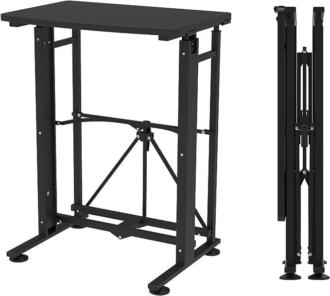 E-WIN スタンディングデスク 昇降式テーブル キャスター(固定脚)取付けだけの簡単組立 天板サイズ幅58cm×奥行40cm 昇降 ダイニング テーブル 手動 折りたたみ オフィステーブル 型番SD58-BK ブラック