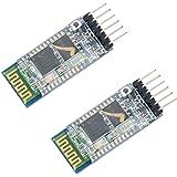 HiLetgo 2pcs HC-05 Wireless Bluetooth RF Transceiver Master Slave Integrated Bluetooth Module 6 Pin Wireless Serial Port Comm