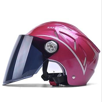 GJ Casco-motocicleta Hombres y mujeres Coche eléctrico Universal Verano Mitad-cubierta Casco ligero