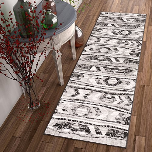 Bright Moon Grey Southwestern Modern Tribal Lines 2 x 7 (2'3