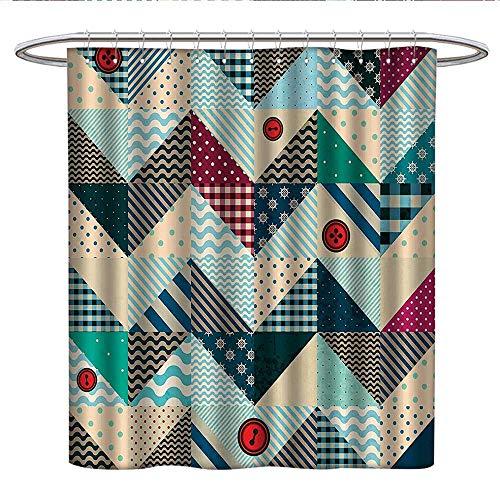 Anshesix Farmhouse Decorkids Shower curtainChevron Patchwork with Vintage Stylized Line and Retro Button Forms Kitsch ArtsyRound Shower Curtain rodMulti (Bettie Retro Button)
