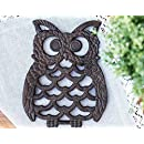"""Cast Iron Owl Trivet - Decorative Trivet For Kitchen Counter or Dining Table Vintage, Rustic, Artisan Design - 7.75X6"""" - With Rubber Pegs/Feet - Recycled Metal, Rust Brown Finish - by Comfify"""