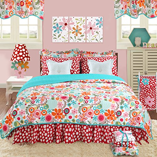 Cotton Tale Designs 100% Cotton - Colorful Red, Turquoise Blue, Pink, Orange Flower Contemporary Bright Fun Floral & Bold Polka Dot/Spot 8 Piece Queen Bedding Set, Lizzie for Girls