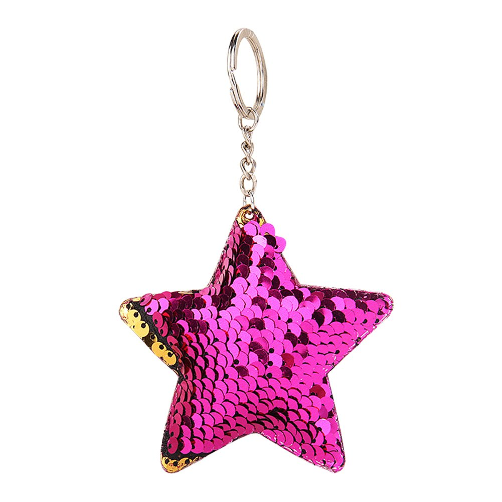 Butterfly Iron Glitter Sequins Star Key Chain Keyring Charming Purse Bag Hanging Pendant