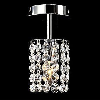 Luz de techo Cristal Cromo 1 Llama Lámpara de techo simple moderna ...