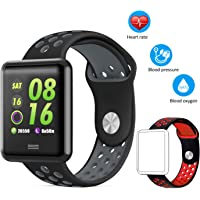 AK1980 Fitness Watch, IP68 Waterproof Activity Tracker Smart Watch with Heart Rate Monitor Blood Pressure Blood Oxygen Sleep Monitor 1.3'' Large Color Screen Steps Tracker Calorie Counter Multi Exercise Modes for Kids Women Men Fitness Tracker