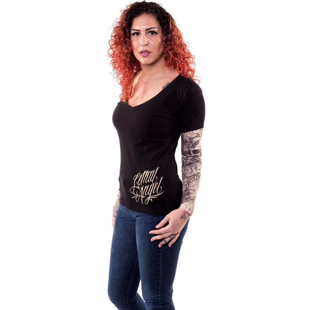 26fd9f33 Amazon.com: Lethal Angel Women's Skull Butterfly Tattoo Sleeve V Neck Shirt  Black: Clothing