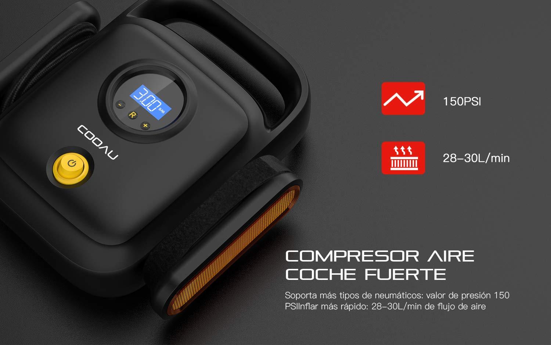 COOAU Compresor Aire Coche Portátil, 12v con Protección contra ...