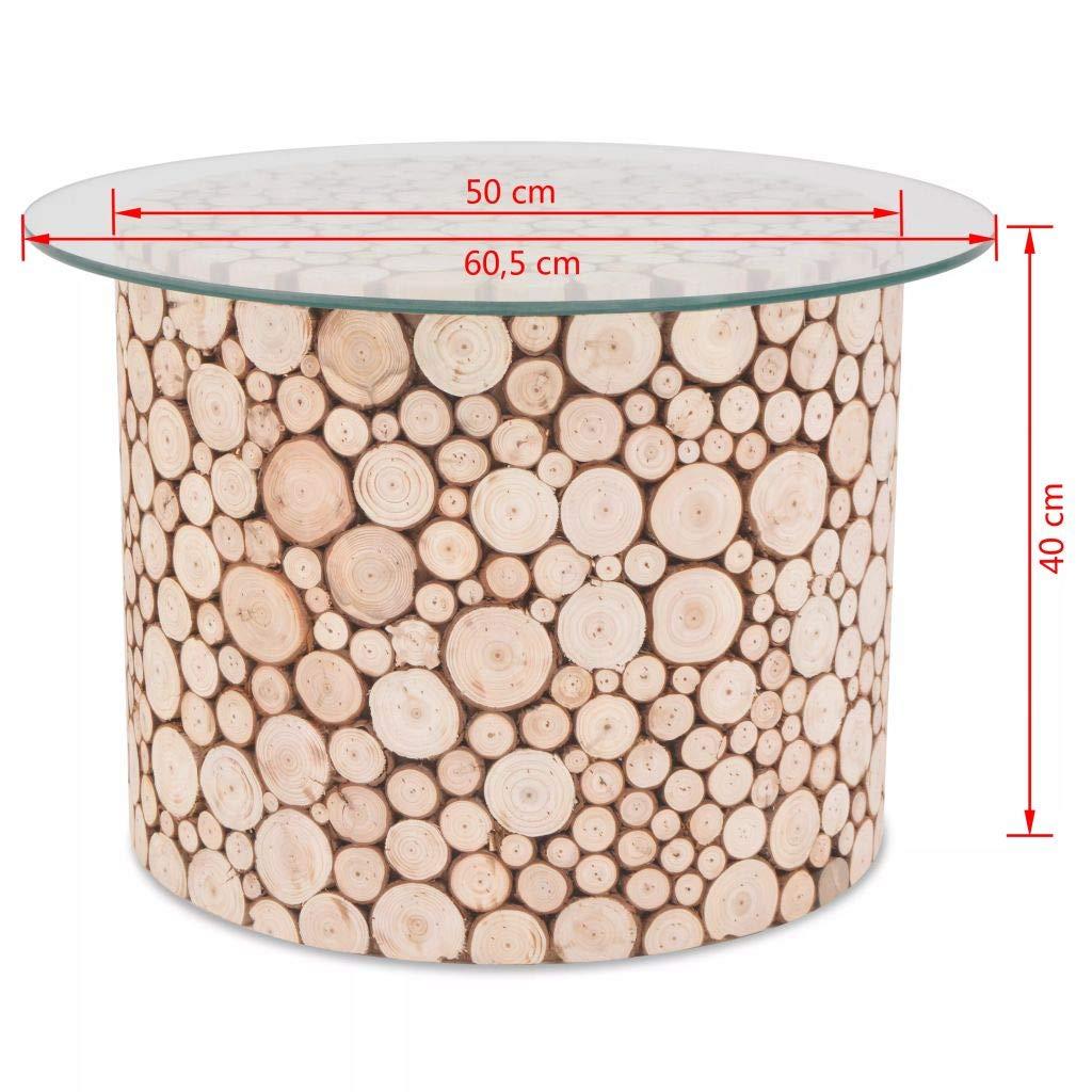 60.5x40 cm SOULONG Tavolino da caff/è Tavolini da caff/è per Soggiorno in Legno e Vetro Temperato Tavolo Rotondo da caff/è Design Moderno,Tavolino per Soggiorno e Camera da Letto
