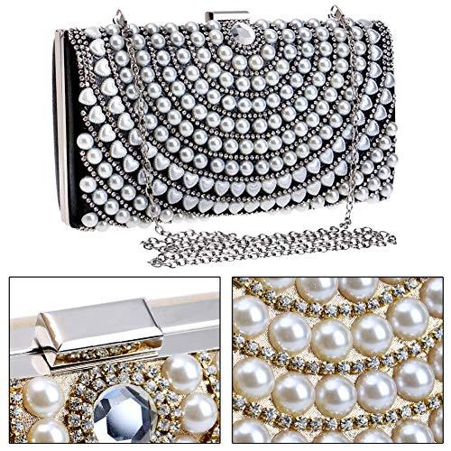Clutch Chain Handbag Bags Womens Dress Wedding Black Pearls Purse For Evening qx7X0tdX