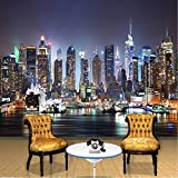 Mznm Custom 3D Wall Mural Wallpapers Modern City Night Views for Bedroom Living Room Sofa Backdrop Wall Contact Paper-150X120Cm