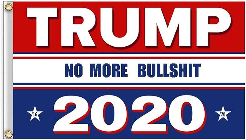 24*70cm Trump 2020 Election Flag Keep America Great No More Bullshit Double Side