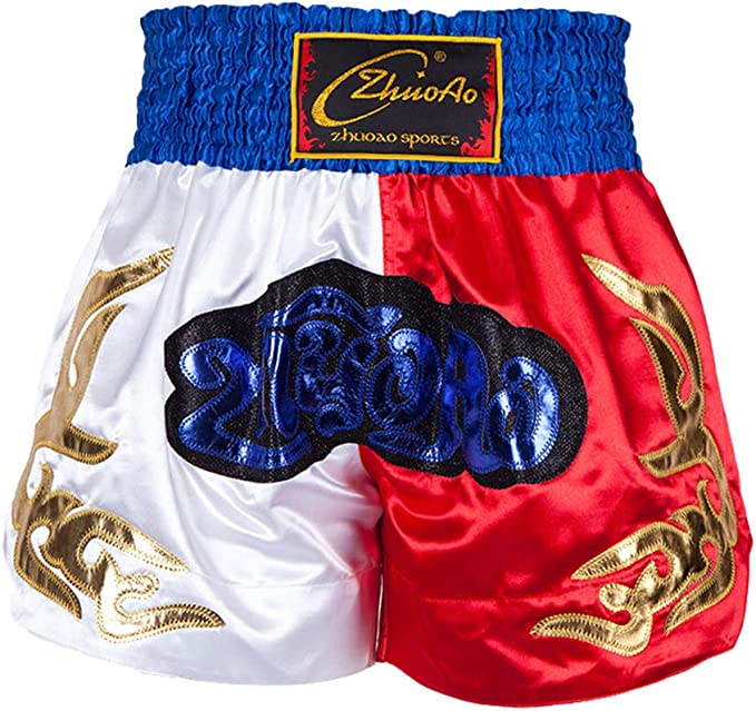 Di alta qualità in satin MUAY THAI Pantaloncini-Nero