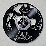 Cheap Vinyl Record Wall Clock Alice in Wonderland Cheshire Cat Smile decor unique gift ideas for friends him her boys girls World Art Design