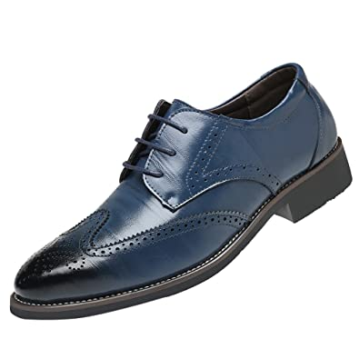 VonVonCo Classical Style Mens Breathable Hollow Business Casual Pointed Shoes Navy