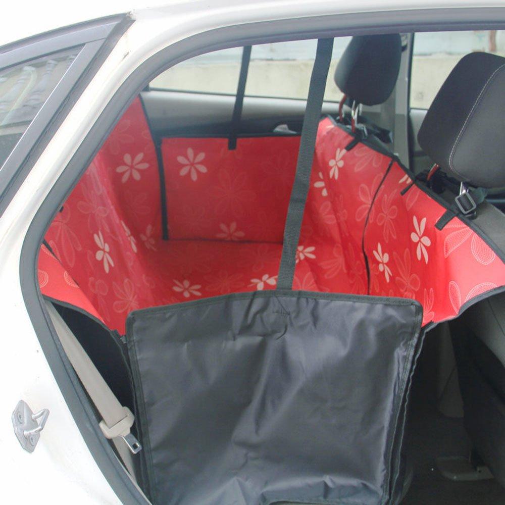 Accessoires de voyage de voiture super haute qualité Hot Sale Housse de siège d'auto étanche pour chien Housse de siège de chien de trois couleurs différentes Fourniture de fleurs. (150 x 130 x 55 cm, Rose) SF Net Trading