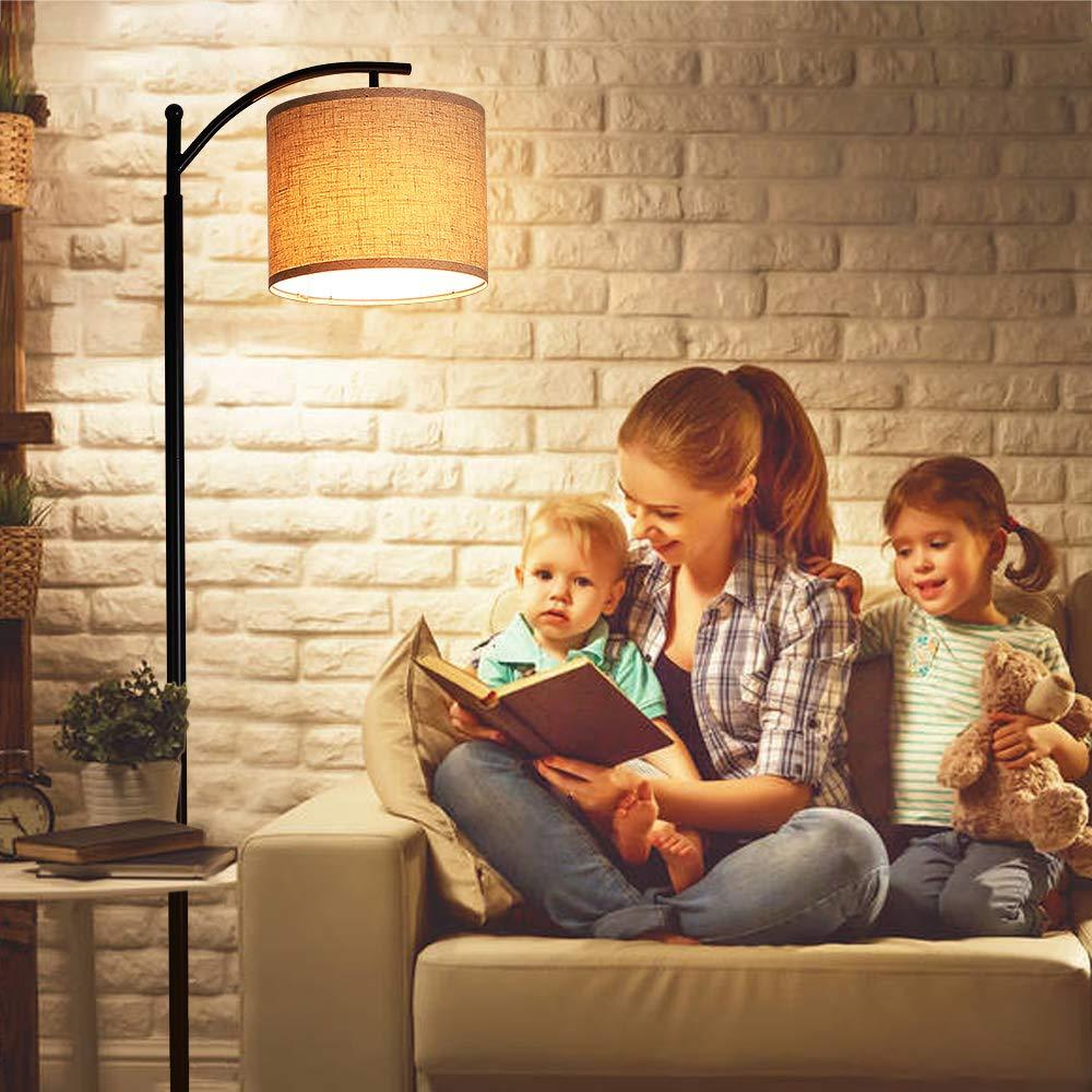 Adottando il Paralume in Lino e la Base in Arte del ferro,Pu/ò Essere Utilizzato in Camera da Letto in Soggiorno Lampada da Terra,Tomshine Lampada da Terra Moderna con una 9W lampadina LED