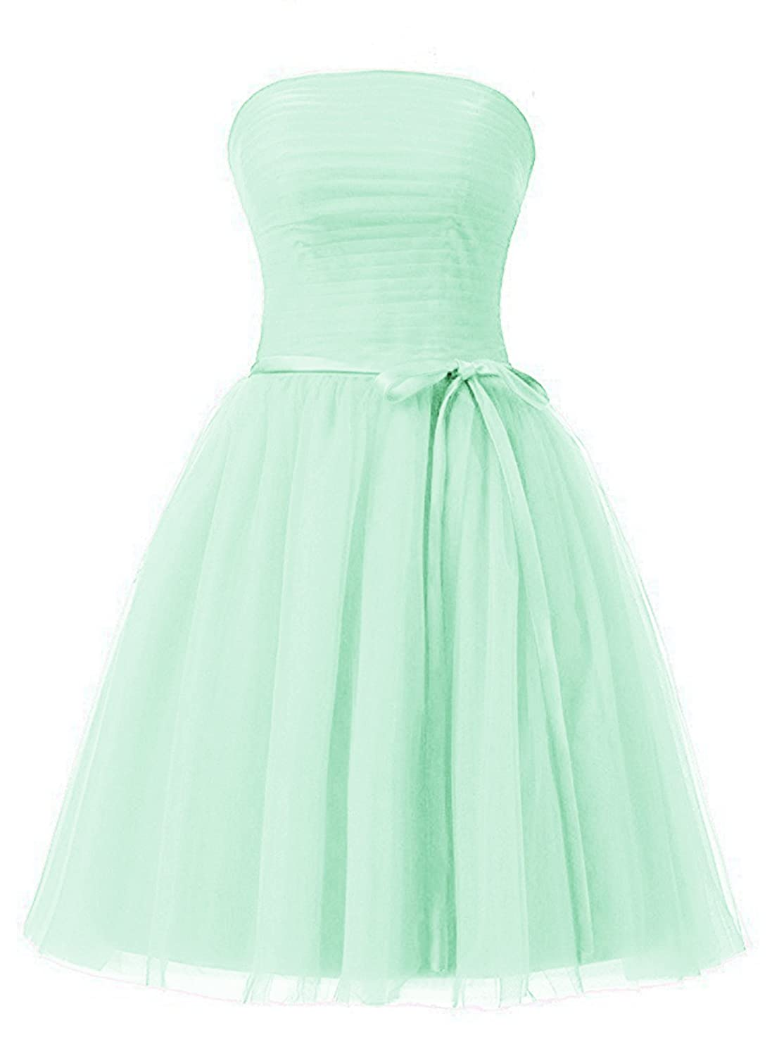 Mint Green Anlin Women's Sweetheart Pleated Tulle Prom Aline Cocktail Dress