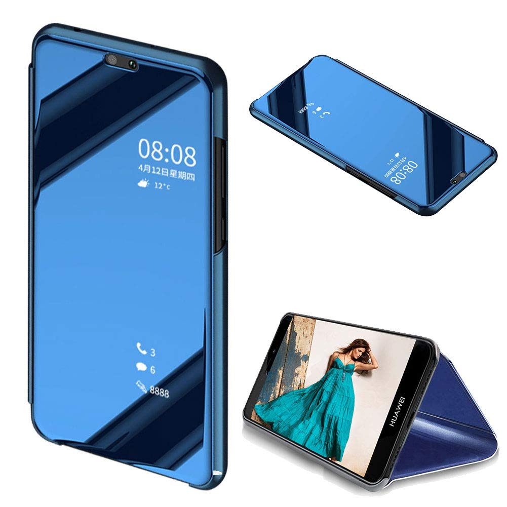 MOIKY Luxury Mirror Clear View Flip Case for Huawei Mate 9 Lite Translucent Plating PU Leather Ultra Slim Protective with Stand Function Case for Huawei Mate 9 Lite-Blue