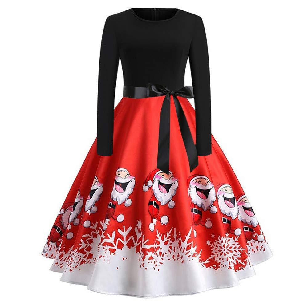 JURTEE Fashion Women's Dress Ladies Vintage Print Long Sleeve Christmas Evening Party Swing Dress JURTEE-123
