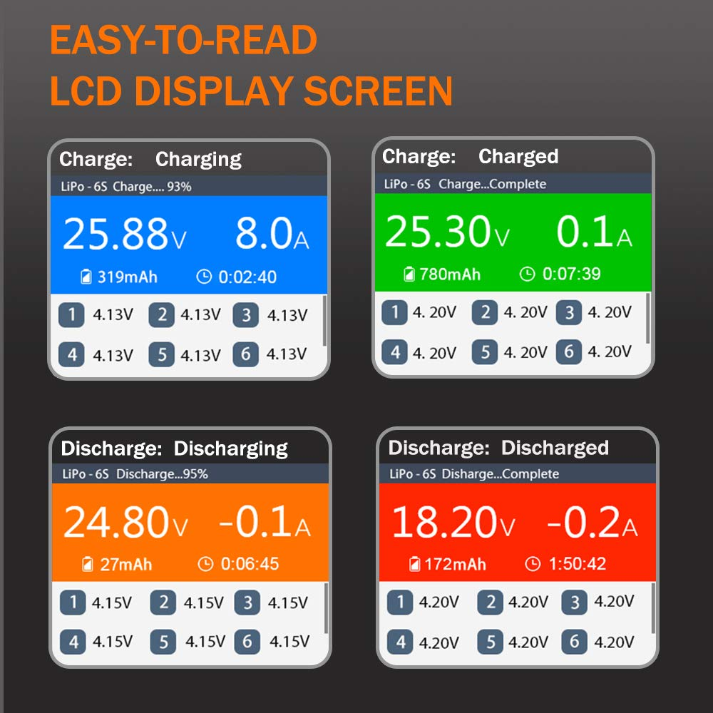 HELIFAR Cargador Balanceador Inteligente UP610 DC 200W 10A 1S - 6S XT60 Cargador Digital para balanza Lipo NiMh, NiCd, LiPo, Life y LiIon,Pantalla LCD ...