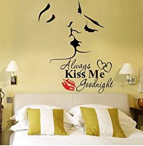 Lovers Kiss Wall Murals Always Kiss Me Goodnight Wall Sticker with Quote Wall Decor Vinyl Wall Art Wall Decor for Sofa TV Background Living Room Bedroom Decor,2Pcs/Set(Lovers Kiss)