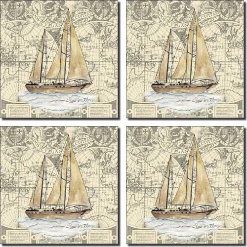Nautical - Boat by Sara Mullen - Ceramic Accent Tile Set 4.25'' x 4.25'' Kitchen Shower Backsplash