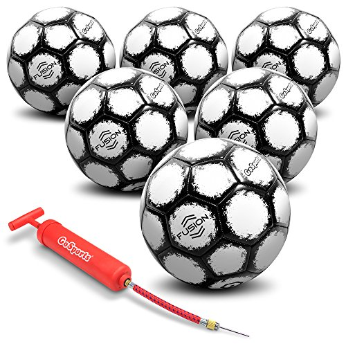 GoSports Fusion Soccer Ball with Premium Pump & Mesh Carrying Bag (6 Pack), Size 5, Black -