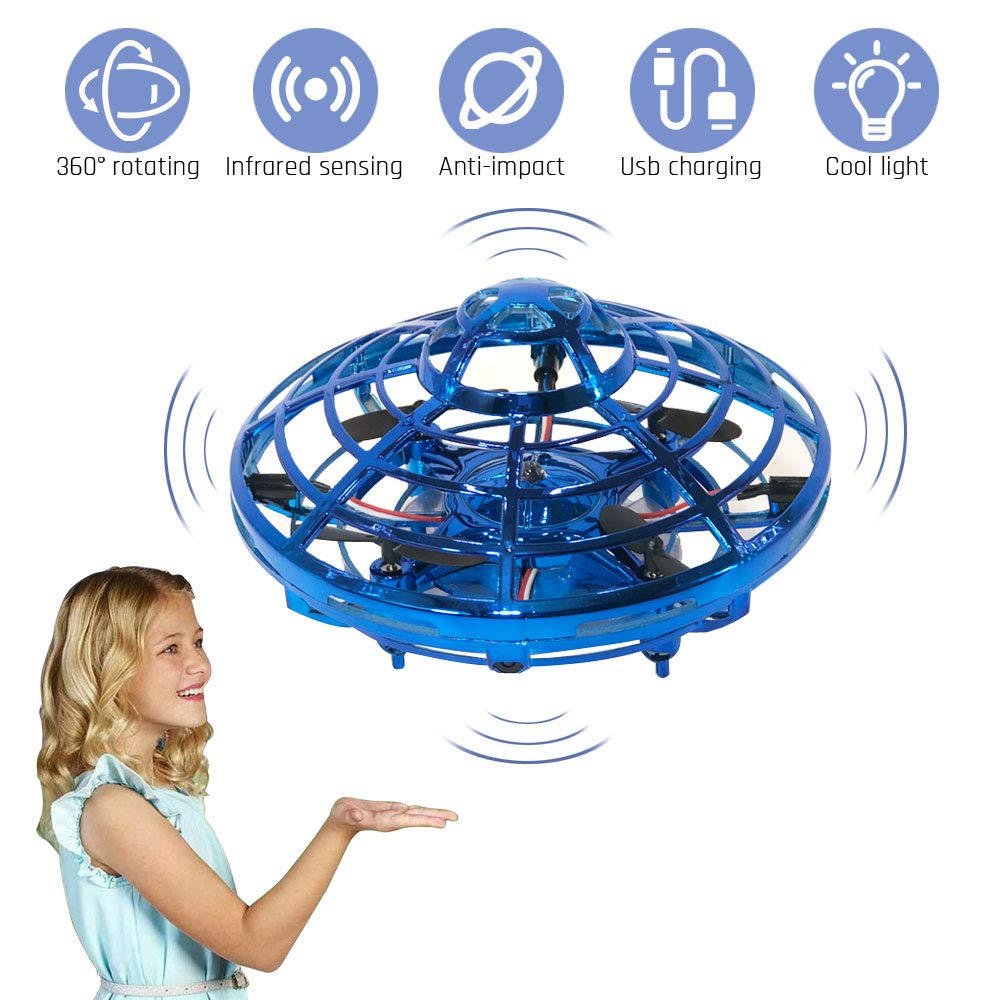 AOS UFO Flying Ball Toys,Hand-Controlled Suspension Helicopter Toy, Infrared Induction Interactive Drone Indoor Flyer Toys with 360° Rotating and LED Lights for Kids, Teenagers Boys Girls by AOS (Image #1)