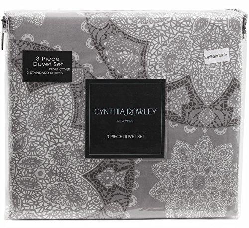Cynthia Rowley Gray Tribal Round Medallions 3pc Duvet Cover Set Microfiber Large Bohemian Lace Damask Ornate Charcoal Grey Boho Pattern Bedding (King, Grey) (Gray Damask Duvet Cover)