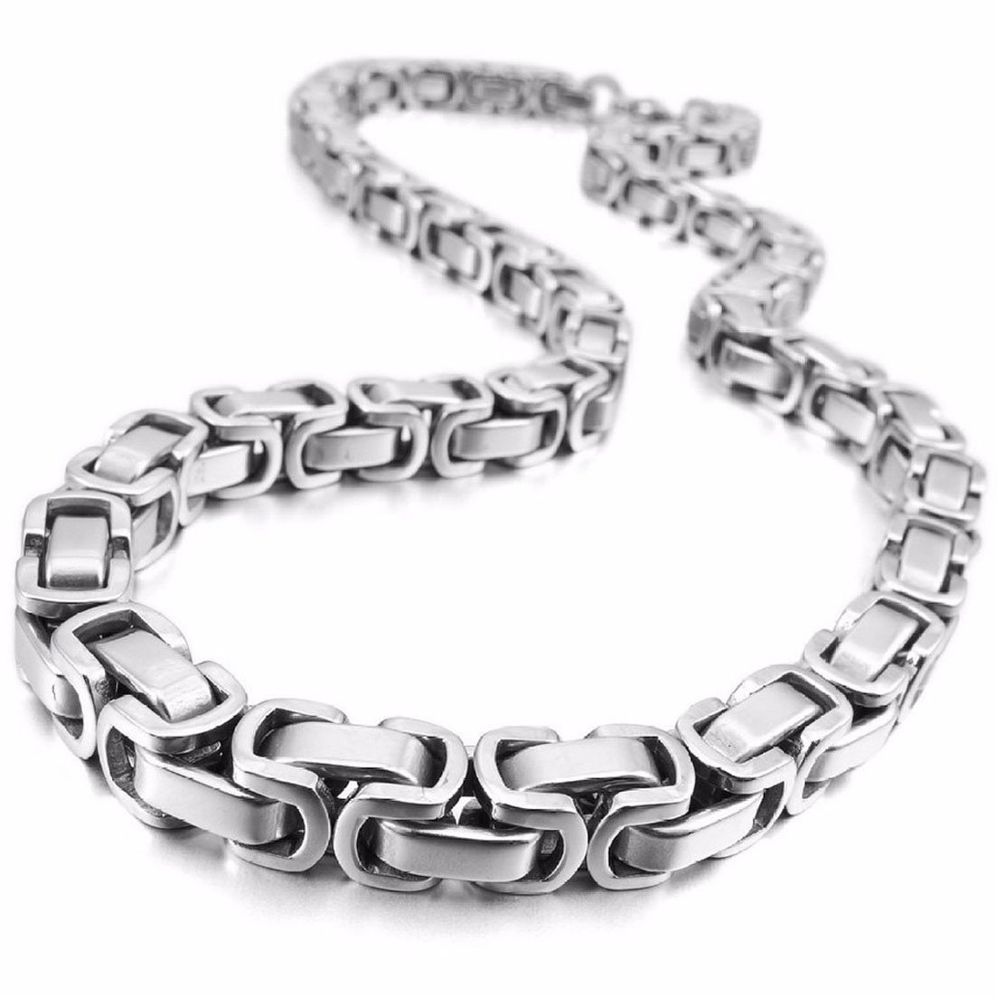 8mm Mens Fashion Stainless Steel Byzantine Chain Bracelet Necklace 7-40