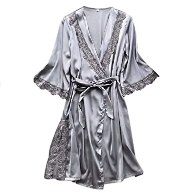ae6311ba93c07 RAINED-Womens Solid Colored Satin Robe Long Dressing Gown Silk Robe Long  Satin Kimono Bathrobe for Bride and Bridesmaids at Amazon Women s Clothing  store