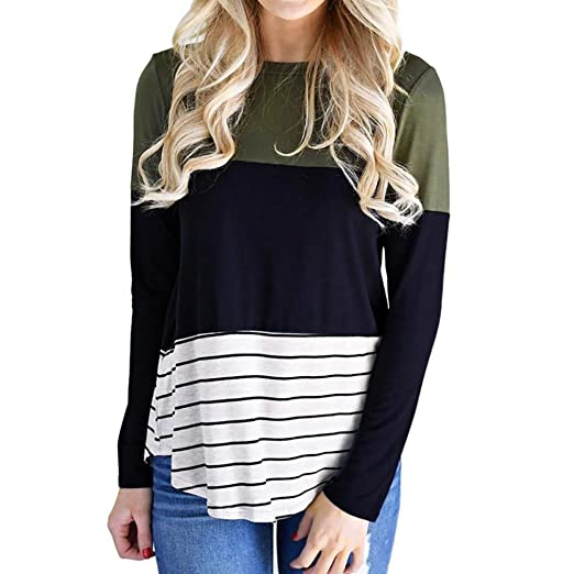1d6e054a6b9c Amazon.com  Paymenow Women New Spring Contrast Color Long Sleeve T Shirts  Loose Striped Splice Swing Tunic Tops  Clothing