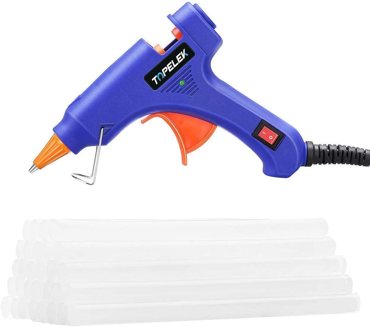 Hot Glue Gun, TOPELEK Mini Heating Hot Melt Glue Gun with 30pcs Melt Glue Sticks, Melting Glue Gun Set for School DIY Arts and Crafts Projects, Home Quick Repairs(20 Watts, Blue)